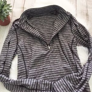 Lululemon Striped Quarter Zip with Thumb Holes